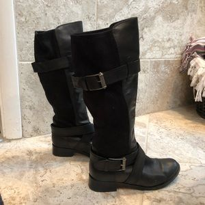 Black Cole Haan boots stretch suede back Size 8